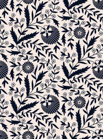 seamless blue floral hand drawn dark blue pattern. seamless template in swatch panel. design for textile, print, packaging