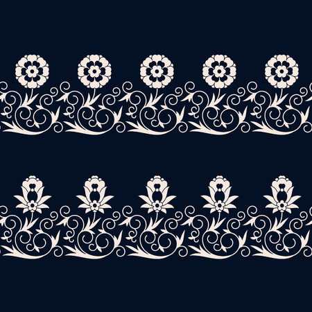 vintage floral borders. seamless pattern in swatch panel