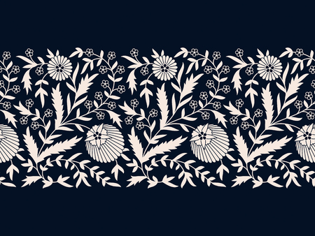 seamless vector wide white floral border. seamless template in swatch panel. design for print, card, frame