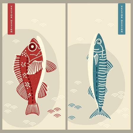deux vecteurs de maquereau japonais et de perche. conception pour les entreprises, l'impression, la carte, l'industrie alimentaire