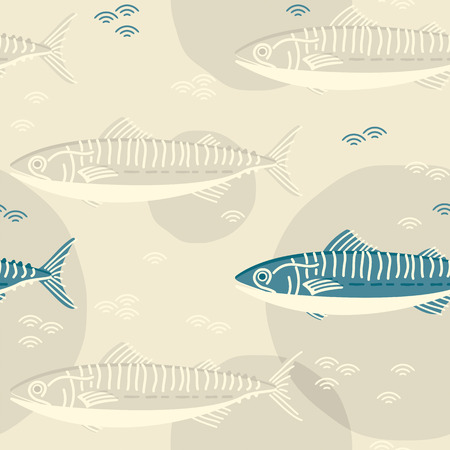 mackerel fish. seamless template in swatch panel. design for print, wrapping Illusztráció
