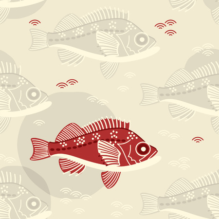 perch fish. seamless template in swatch panel. design for print, wrapping Illusztráció