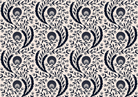 seamless vector retro pattern with floral ornament. seamless template in swatch panel. design for packaging, textile, print