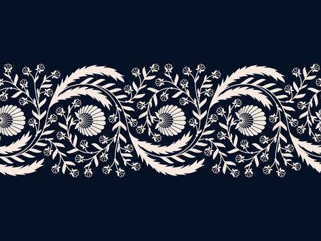 seamless vector white floral hand drawn border. seamless pattern in swatch panel