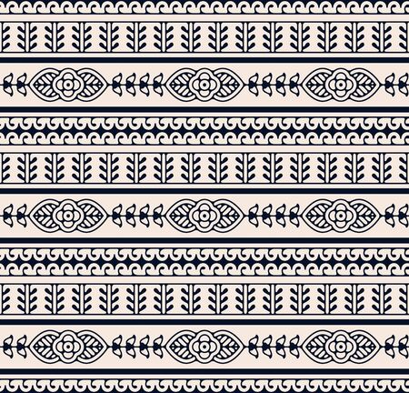 seamless vector ethnic floral hand drawn mirror pattern. seamless template in swatch panel. design for print, textile, packaging Illusztráció