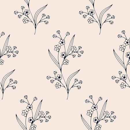 seamless vector hand drawn gentle floral pattern. seamless pattern in swatch panel