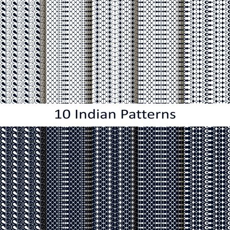 blue line indian lineal geometric patterns. seamless template in swatch panel. design for print, textile, packaging