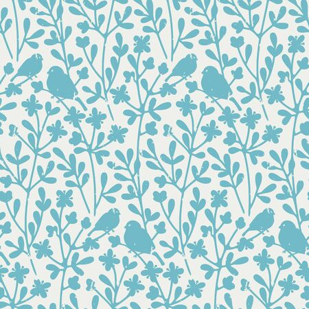 seamless vector blue vintage pattern with birds sitting on floral braches