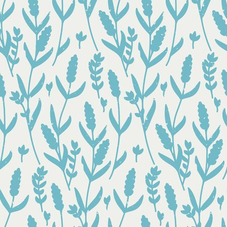 seamless vector retro pattern with contour lavender in blue