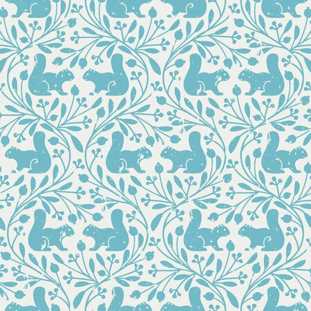 seamless vector vintage pattern with squirrels and floral ornament in blue