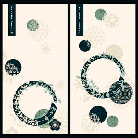 vector set with two pastel color cards in japanese style with floral and circle geometric decoration