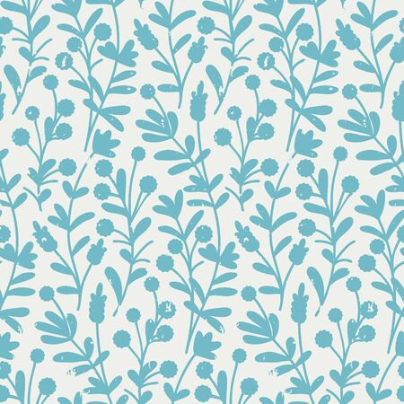 vector seamless pattern with blue large hand drawn cute flowers and grunge texture Illusztráció