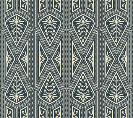 seamless vector pattern with white geometric triangle design and floral decoration on dark blue background