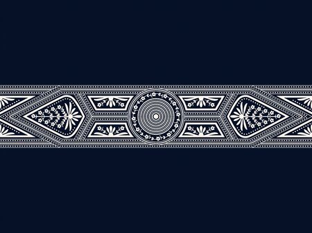seamless vector white border with geometric fugires and floral decoration on dark blue background