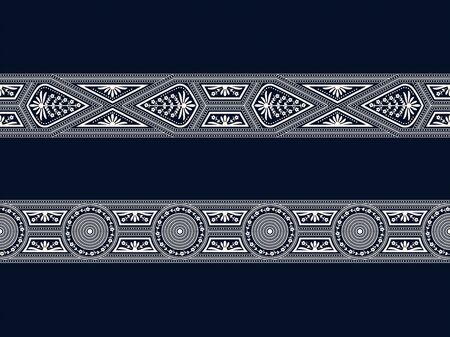 set of two seamless vector white borders with geometric figures and floral elements on dark blue background Illusztráció