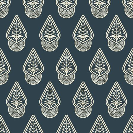 seamless vector pattern with white isolated rombic figures and floral decoration on dark blue background