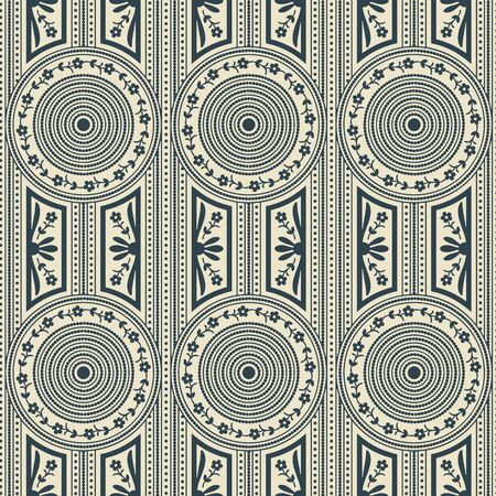 seamless vector pattern with white geometric circles and lines and floral design