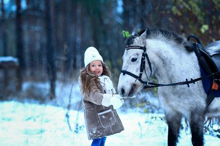 pony girl: little girl feeding little horse pony winter