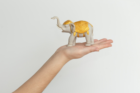 animal figurines: elephant statuette on the hand isolated on white background