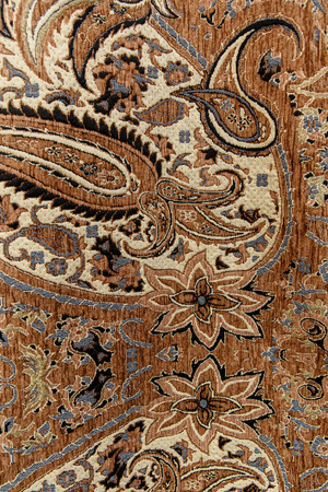 prayer rug: colorful carpet for sale in the store. Carpet Fabric Texture