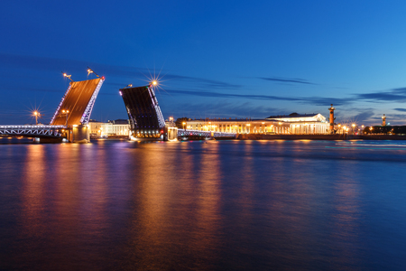 St. Petersburg By Night. Panorama of night city. View on the Neva river and the open bridge