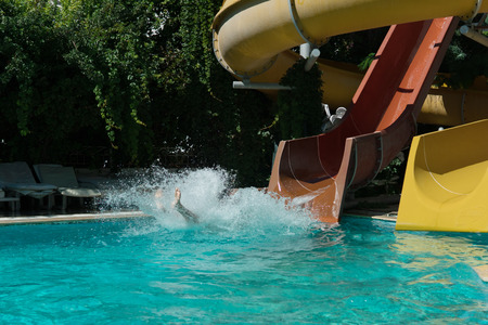 Incident on the water slide in the water park unknown person fell and hit into the pool and get injuring during vacation