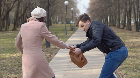 Man steals a womans bag from a bench in the park.