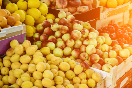 Close up shot of fresh fruits on market.