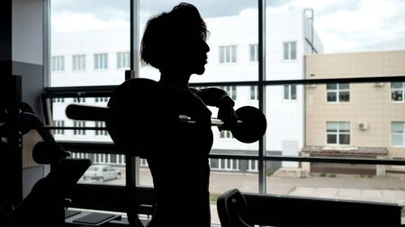 Silhouette of a sportive woman with a relief body at the window making set of reps exercise lifting barbell for shoulders muscles, copy space Banco de Imagens