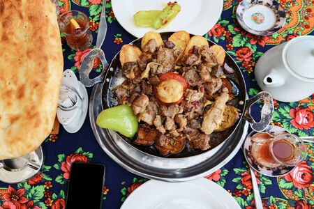 Traditional azerbaijan cuisine food in the restaurant, top view