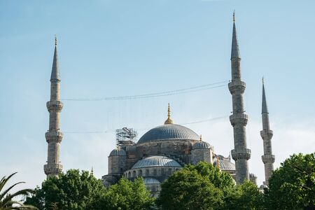 Beautiful Blue mosque of Sultan Ahmed against a clear sky.