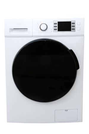 modern washing machine with black door and screen on control panel in metal case isolated on white closeup