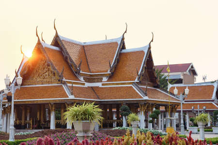 Wat Ratchanatdaram Temple in Bangkok at sunset, Thailand.