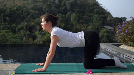 Young woman in yoga pose cat-cow. Outdoor activities.