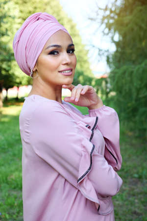 Portrait of a beautiful muslim woman outdoors.