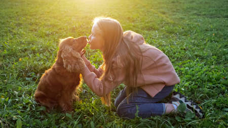 Fair haired schoolgirl in hoodie and jeans kisses furry spaniel sitting on green meadow grass at back bright autumn sunlight