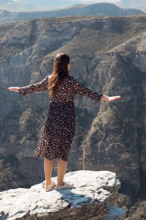 woman in a midi-length dress with her arms outstretched stands over a cliff, back view. 스톡 콘텐츠
