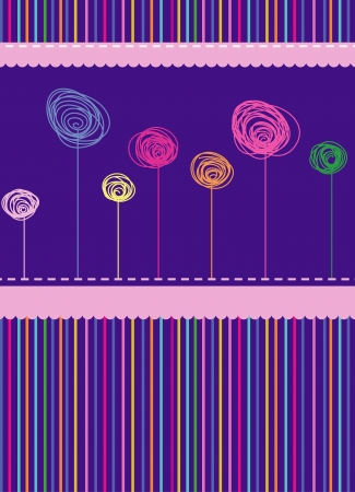 striped, abstract background with flowers Stock Vector - 18028208