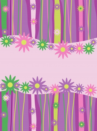 striped, abstract background with flowers Stock Vector - 18069530