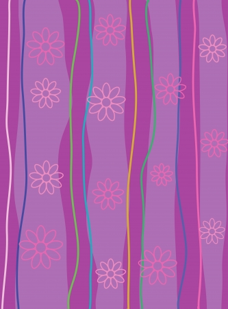 striped, abstract background with flowers Stock Vector - 18069534