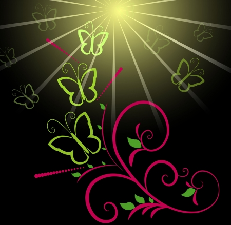 Butterfly and sun background Stock Vector - 18649715