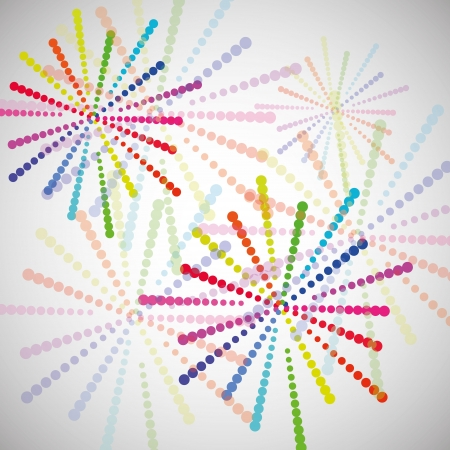 Fireworks different colors on white background Illustration