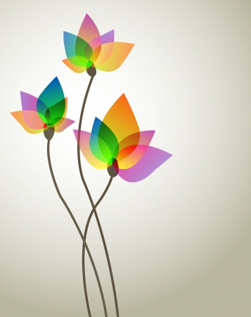 three abstract flower