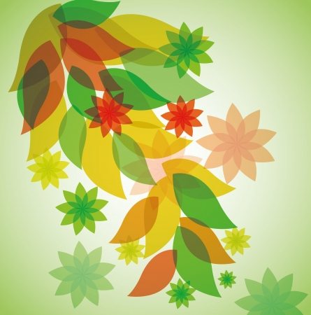 Abstract floral leaves on a green background