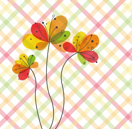 Abstract flowers on diagonal pattern Illustration