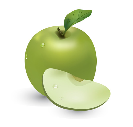 green apple slice: vector background with apple