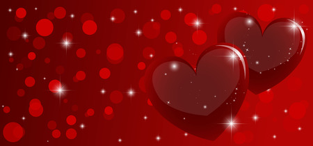 vector red background with circles and hearts