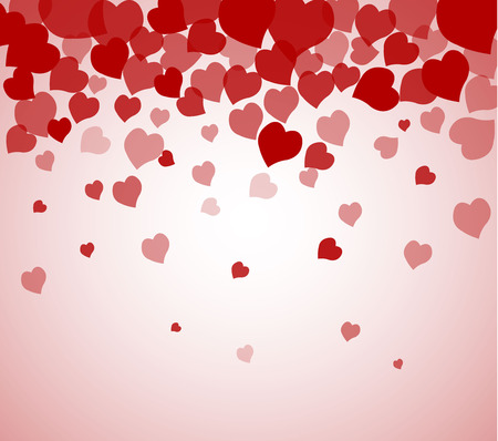 vector background with red hearts, valentines day Иллюстрация