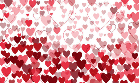 vector background with red hearts, valentines day Illustration
