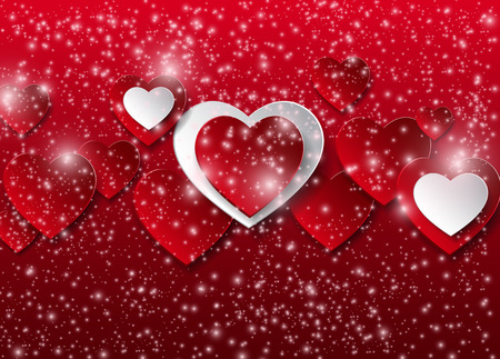 enamored: vector background with hearts, Valentines Day